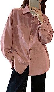 Himosyber 女式休闲超大宽松纯色翻领灯芯绒纽扣口袋夹克衬衫