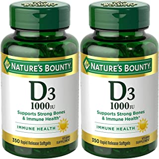 Nature's Bounty 自然之宝 维生素 D3-1000 IU,700 粒软胶囊(2 瓶,350 粒/瓶)