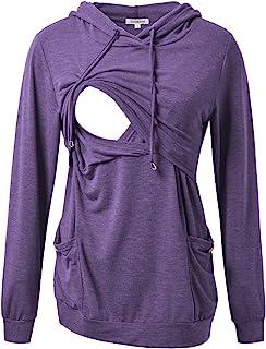 GINKANA 女式护理连帽衫上衣运动衫长袖纽扣装饰口袋衬衫束腰上衣