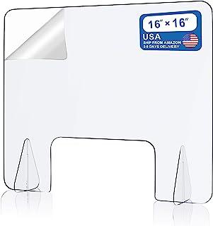 台面防喷嚏防护台罩,保护性*玻璃屏障隔板,便携式透明亚克力*玻璃屏障,适用于桌子、办公室、美甲沙龙、*台(40.64cm 宽 x 40.64cm 高)