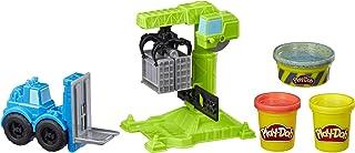 Play-Doh 车轮起重机和叉车结构玩具,带*水泥建筑化合物,加上 2 种附加颜色