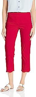 SLIM-SATION 女士松紧带纯色露脐裤,腿刺绣