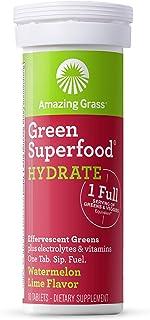 Amazing Grass Green Superfood 具有碱化混合物的泡腾水合片,西瓜酸橙,10计数