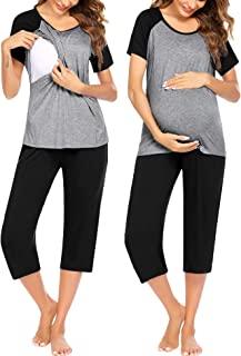 Ekouaer 女式孕妇护理睡衣套装卡普里睡衣,适合*喂养怀孕 PJM S-XXL 码