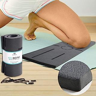 Florensi 瑜伽护膝,多功能跪垫,适用于膝盖、手腕和肘部,超厚支撑,带对齐图案的护膝,瑜伽护膝适用于无痛锻炼,耐用锻炼垫