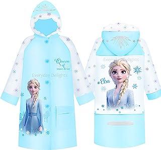 Disney 冰雪奇缘 II 女王艾莎连帽雨衣雨衣雨披外套,适合女孩幼儿儿童