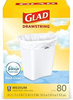 Glad 中号厨房抽绳垃圾袋 8 加仑 白色垃圾袋 清新清香 80 包(包装随机)