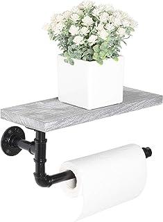 管纸毛巾架,工业纸巾架 壁挂式卫生纸架 带架子 适用于厨房、浴室、洗手间、乡村灰色