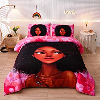 Meeting Story 粉色迷彩非洲女孩棉被套装单人床,黑色女士床上用品套装,柔软超细纤维被子,一个被子带两个枕套(单人床,粉色紫色 3 件套)