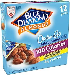 Blue Diamond Almonds On the Go100卡路里杏仁,淡咸味,12小包