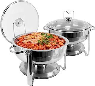 430 不锈钢擦洗餐具自助餐套装,4 夸脱圆形自助餐加热器擦洗器套装带盖子和盖子支架,适用于自助餐婚礼派对宴会餐饮活动(2 件装)