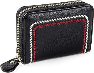 RFID 信用卡夹,皮革拉链卡包女士钱包 黑色//白色