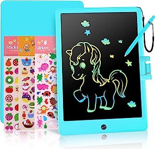 MaikcQ LCD 书写平板电脑,11 英寸(约 27.9 厘米)幼儿涂鸦板,带 3 个 DIY 贴纸,可擦除电子绘画垫,*生日礼物玩具,适合 3 4 5 6 岁男孩和女孩(蓝色)