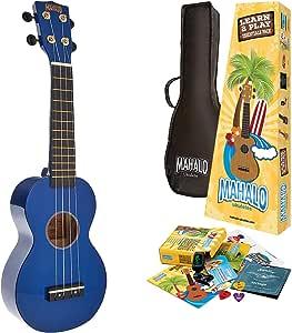 Mahalo 尤克里里彩虹系列,4 弦尤克里里琴,右侧,蓝色 (MR1BUK)
