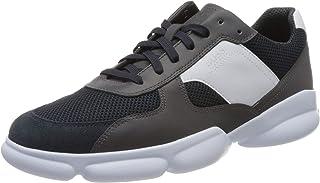 BOSS 男士 Rapid Runn 皮革运动鞋,带粗网眼衬垫。