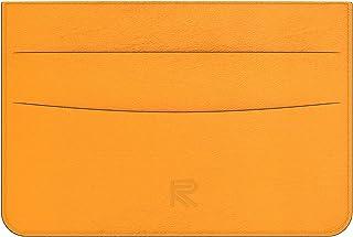 REXKEY 男式皮革钱包,超薄前口袋简约钱包名片夹, 橙色, M,