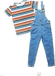 3 件套小少女连身衣浅蓝色牛仔工作服,带 T 恤头带