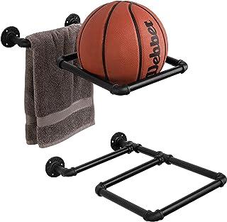 MyGift 壁挂式黑色工业管道家庭健身房健身锻炼球存储展示架,2 件套