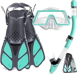 成人潜水套装,浮潜套装,带全景潜水护目镜,顶部干燥浮潜和可调节脚蹼,水肺潜水浮潜面罩,男女皆宜