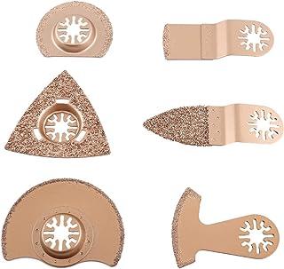 振荡多工具锯片套装通用锯片配件,混合多工具快速释放锯片套件,用于切割、打磨和研磨(6 件碳化物)