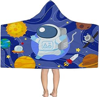 Zzkol 夏季外太空连帽沙滩巾,蓝色宇宙宇航员超细纤维无沙游泳泳池连帽衫,30 x 50,Galaxy Planet 速干吸水旅行沐浴露营野餐毛巾儿童男童