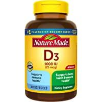 Nature Made 维生素D3 软胶囊,300粒,维生素D 1000 IU(25 mcg),帮助支持机体抵抗能力,强…