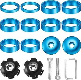 18 件 1-1/8 英寸自行车耳机垫片带耳机顶盖铝合金耳机星螺母螺栓适合 1-1/8 英寸杆和叉子