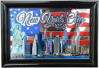 纽约市天际线波浪国旗美国照片装框铝箔冰箱磁贴