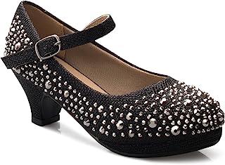 OLIVIA K 女童小猫高跟鞋 水钻漆 漂亮凉鞋 玛丽珍防水台 Dreess 高跟鞋