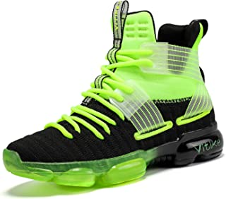 JMFCHI 儿童篮球鞋高帮运动鞋耐用系带防滑跑鞋适合小童、大童和成人