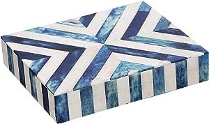Handicrafts 家居 V 形饰品收纳盒和储物盒,适用于女士、女孩、卧室、办公室、壁橱 - 由水牛骨头镶嵌艺术品制成,优质松木 Chevron-blue 8x5x1.5 inch BOX-CHEVRON-8X5X1.5