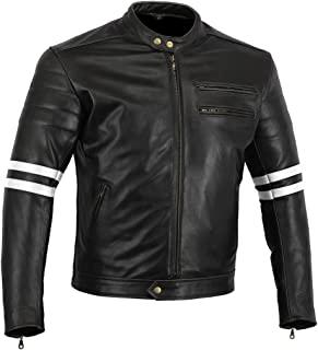 Bikers Gear UK The Rocker 欧洲摩托车皮革咖啡馆赛车夹克盔甲黑色/白色Lrg 40\