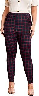 MakeMeChic女式修身格子印花前口袋高弹力腰长裤