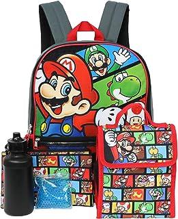Nintendo 任天堂 Super Mario 5 件套角色16 英寸背包组合套装 黑色/红色 均码