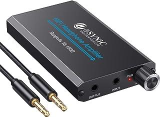 ESYNIC 耳机放大器 便携式放大器 3.5 毫米音频可充电 HiFi 耳机放大器 带 1.2 米 USB 电缆和锂电池,适用于 MP3 MP4 手机、数字播放器和计算机