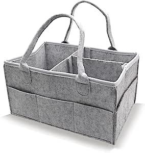 Baby Diaper Caddy, Organizer 育儿储物箱汽车收纳袋适用于尿布和婴儿湿巾 UpgradeBoy Girl 尿布收纳箱,带防尘罩,婴儿便携式收纳袋(灰色)