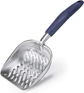 CO-Z 猫砂铲 实心铝合金筛子深铲 带柔性长柄(蓝色)