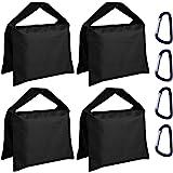 ABCCANOPY 超重型沙包马鞍包设计 4 个重量袋适用于照片视频工作室支架、后院、户外庭院、运动(黑色)