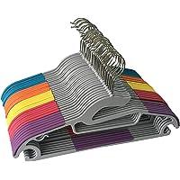 Jeronic P3500M 轻便防滑耐用的塑料衣架,非常适合各种裤子,礼服,夹克,内衣和衬衫,5种混色01 30件装