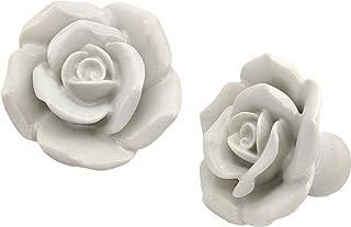 5MoonSun5's 陶瓷玫瑰抽屉旋钮拉手经典/复古主题手工拉手拉手适用于梳妆台橱柜、衣柜和橱柜家居装饰橱柜家具五金件套装(白色)