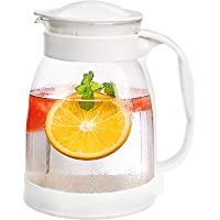 玻璃壶带盖,冰茶壶,68 盎司(约 1.7 升)不锈钢玻璃水壶,耐热硼硅酸盐玻璃水瓶,适用于热冷水葡萄酒咖啡牛奶和果汁饮…