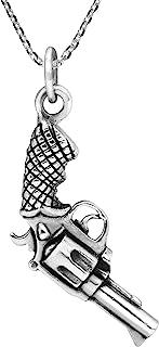 AeraVida 独特精致的 925 纯银旋转手枪吊坠项链