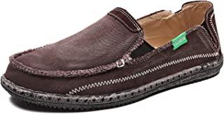JAMONWU 男式帆布鞋一脚蹬甲板鞋船鞋防滑休闲乐福平底户外运动鞋 Brown2 5.5