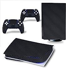 HAO 碳纤维皮套适用于 PS5 控制台和 2 个控制器贴纸相同的贴花,耐用,防刮,无气泡,兼容 Playstation 5(黑色,Playstation 5 数字版)