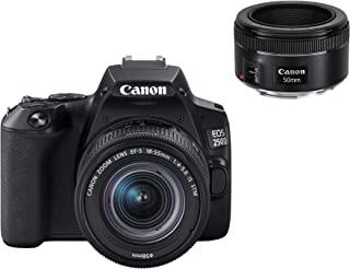 Canon 佳能 EOS 250D 数码相机 - 带镜头 EF-S 18-55 毫米 F4-5.6 IS STM + EF 50 毫米 F1.8 STM(24.1 MP,7.7 厘米(3 英寸)Vari-Angle 显示屏,APS-C 传感器,...