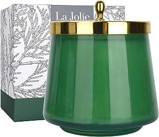 LA JOLIE MUSE 雪松和香脂香味蜡烛,圣诞蜡烛礼物,家庭瓶装蜡烛,75 小时燃烧,12.7 盎司