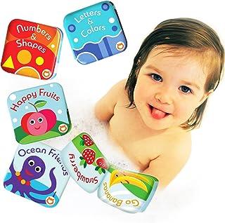 BabyBibi 漂浮婴儿沐浴书 儿童学习洗澡玩具。 防水洗澡玩具幼儿。 儿童*洗澡玩具。 Set of 4: Fruit Book, Ocean Book, ABC Book, Numbers Book