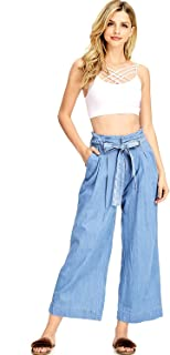 Iris Apparel 女式青少年高腰条纹多布裤