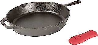 Lodge L10SK3ASHH41B 铸铁煎锅,配有红色硅胶隔热手柄支架,12英寸(约30.48厘米)