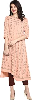 Janasya 印度女式浅粉色涤纶绉纱衬衫